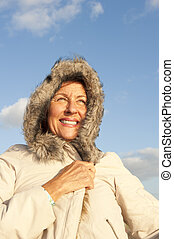 Winter Portrait mature woman - Portrait of attractive...