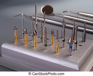 Burs on dental tools background