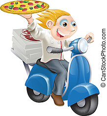 Fast food pizza delivery - Graphic of a fast food pizza chef...