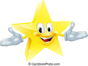 Star man character - An illustration of a smiling gold star...
