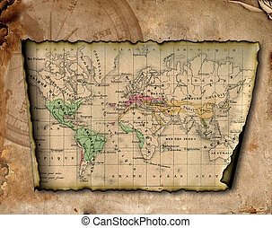 Ancient map of the world The torn, scorched edges Compass...