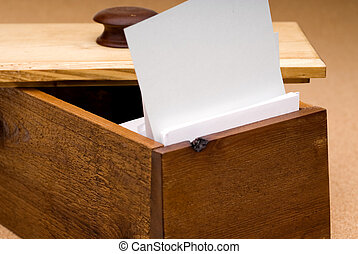 Blank recipe card in a wooden box for you to fill in - A...