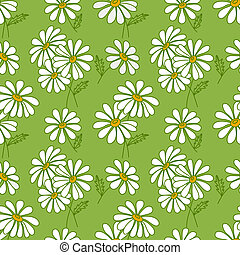Green seamless daisy pattern. Summer vector background.