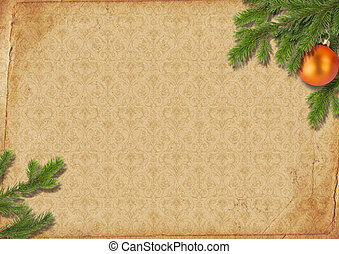 branches of a Christmas tree on old lpaper. - branches of a...