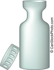 Plastic medical container for pills on white background