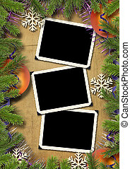 Photo-framework retro on a Christmas background -...