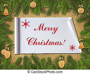 Christmas congratulatory background Fur-tree branches on an...