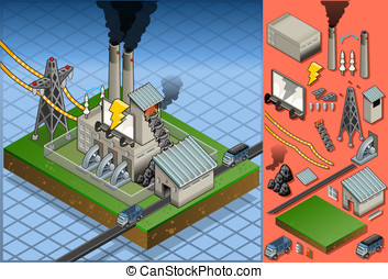 isometric coal plant in production of energy - Detailed...