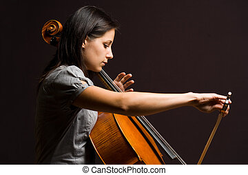 Immersed in classical art - Portrait of beautiful young...