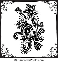 Line art ornate flower