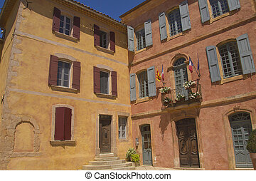Village of Roussillon in Provence France - Roussillon is a...
