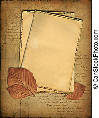 Grunge papers and autumn leaves