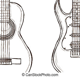 Acoustic and electric guitar - Illustration of acoustic and...