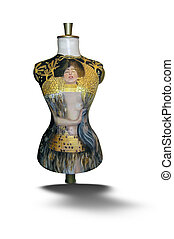 Dummy for a dress is ornamented manually. - The modern art....