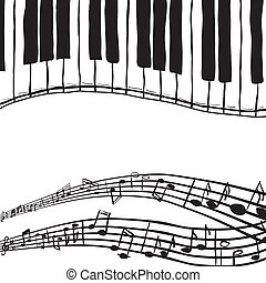 Piano keys and music notes - Illustration of piano keys and...