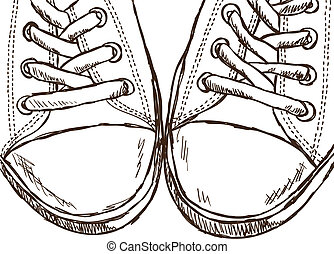 Illustration of sneakers - hand drawn style - Illustration...