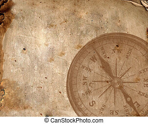 Compass on the old paper - Close up view of the Compass on...