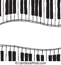 Two piano keys - sketch style - Illustration of piano keys -...