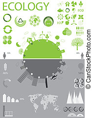 Ecology, recycling info graphics collection, charts,...