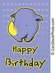 illustration cute rhinoceros - birthday card with...