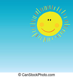 abstract smiling sun on blue sky - vector abstract smiling...