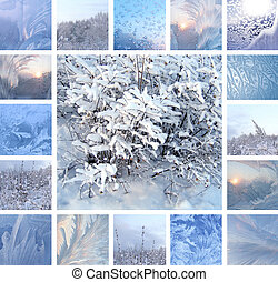 Winter collage - Collage of ice pattern on winter glass and...