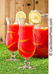 enfriado, naranja, limón, sangría