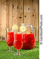 enfriado, naranja, limón, sangría, verano,...