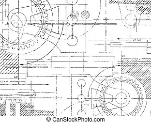 Technical Drawing - Grungy technical drawing illustration of...