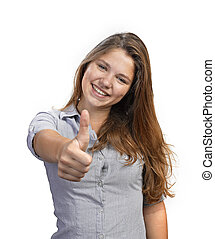 Portrait of attractive young woman showing a thumbs up on...