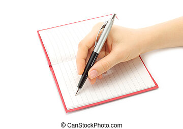 Writing woman hand in notepad on a white background