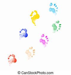 impressões, human, pés
