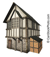 Medieval Town House Isolated - Stone and half-timbered...