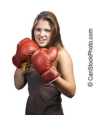 Boxing girl isolated on white