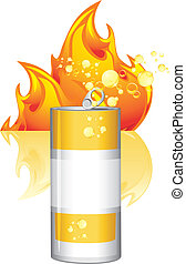 Burn energy drink. Vector illustration