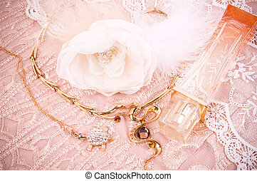 accessories, golden jewelry - White lace with accessories,...