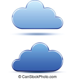 Cloud computing logo template - Blue metallic cloud icons....