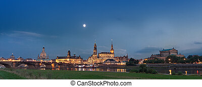 Dresden at night - Dresden skyline and river elbe at night