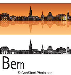 Bern skyline in orange background in editable vector file