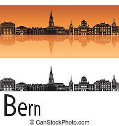 Bern skyline in orange background in editable vector file
