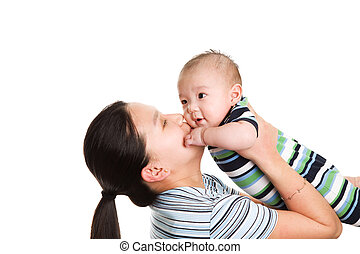 Asian mother and son - An isolated shot of an asian mother...
