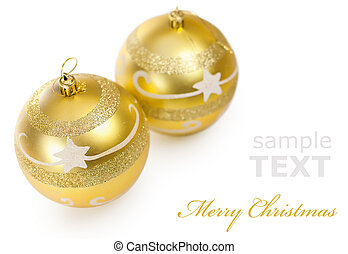Two Christmas golden balls isolated on white background with copy space for text