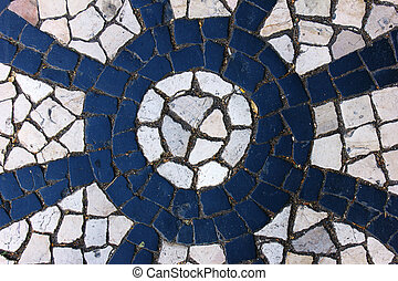 Portuguese pavement, Lisbon, Portugal - Detail of a typical...
