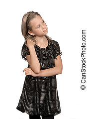 Adorable child - Little girl posed against a white...