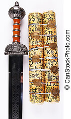 scroll and sword - A scroll with 7 golden seals and a sword