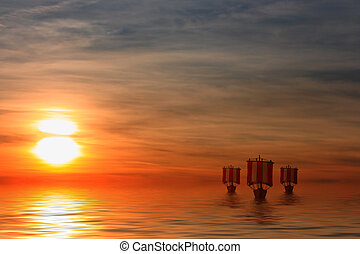 Viking Ships - This image shows a sunset with sailing viking...