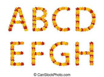 Autumn leaves alphabet letters