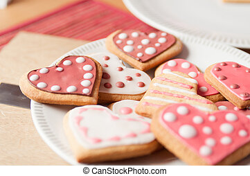 Pink and White Heart Cookies - Beautiful Pink and White...