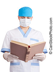 medical doctor reads the book isolated on white background