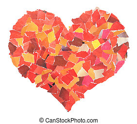 Heart of slices of a red paper isolated on white....